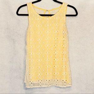 Jennifer Lopez Small Top Shirt Yellow White Floral